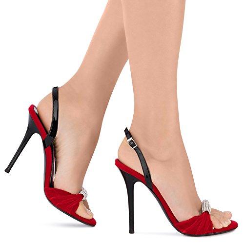 Sexy Arc Soirée KJJDE De Club Sandales TLJ Fête Red Transgenre 43 De 7 Taille Femme Mariage De Haut Talon Mode Plateforme Strass Grande wxwqgvWEf0