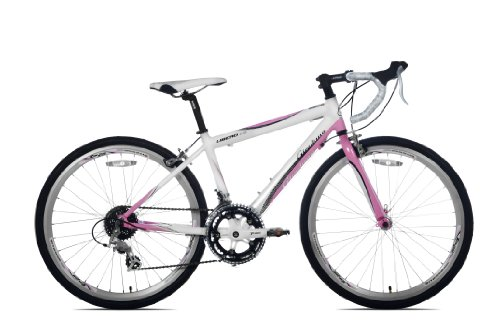 Giordano Libero 1.6 Road Bike, 24-Inch, Light Pink/White