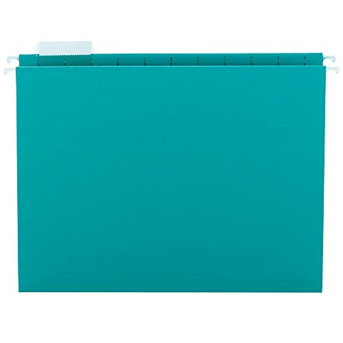 Back Tab Insert (Smead Hanging File Folder with Tab,  1/5-Cut Adjustable Tab, Letter Size, Teal, 25 per Box (64074))