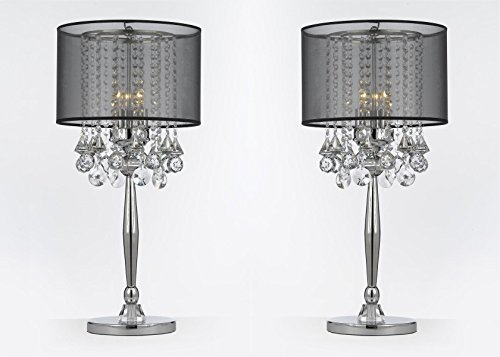 SET OF 2 ! Silver Mist 3 Light Chrome Crystal Table Lamp with Black Shade Transitional Contemporary Modern Lamp - Reflects Chrome Table Lamp