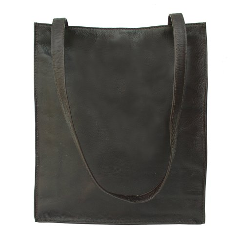 (Piel Leather Open Market Bag, Chocolate, One Size )