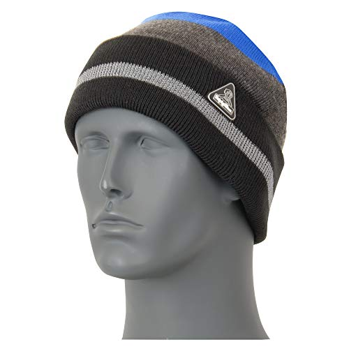 RefrigiWear ChillBreaker Plus Acrylic Knit Watch Cap Beanie with Interwoven Reflective Yarn (Royal Blue, One Size Fits All)