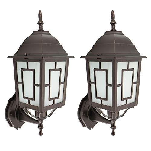(IN HOME (2 Pack) One-Light Outdoor Wall Up Lantern Fixture, Bronze Finish Cast Aluminum Housing with Frosted Glass Shade, Waterproof Exterior Wall Lamp Light for Front Porch, Yard, Garage, ETL Listed)