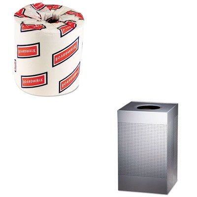 KITBWK6180RCPSC18EPLSM - Value Kit - Designer Line Silhouettes Receptacle, Steel, 29 gal, Silver Metallic (RCPSC18EPLSM) and White 2-Ply Toilet Tissue, 4.5quot; x 3quot; Sheet Size (BWK6180)
