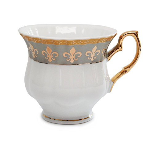 Royalty Porcelain 15pc Fleur-de-Lis Tea Set, Service for 6, 24K Gold-Plated Bone China Tableware by Royalty Porcelain (Image #2)