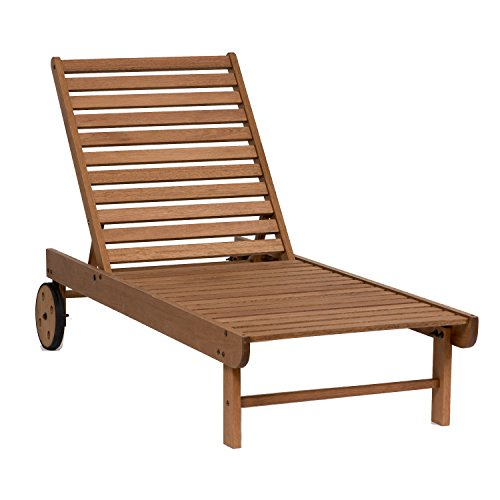 Amazonia Garopaba 1-Piece Poolside Chaise Lounger | Eucalyptus Wood | Ideal for...