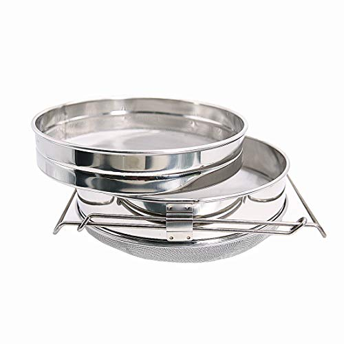 NAVADEAL Stainless Steel Double Sieve Honey Filter Strainer Apiary Equipment Beekeeping Tools