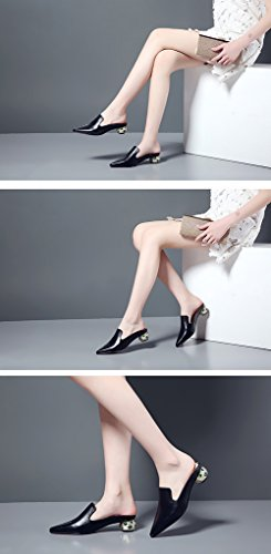 Pointed Wear Half Mid Sandals and Slippers Fashion Heel Slippers Black Ms Leather Baotou Outer Heel ZCJB No Drag fqRwC8
