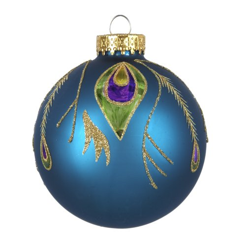 Kurt Adler Peacock Design Glass Ball Ornament, 80mm, Set of 3