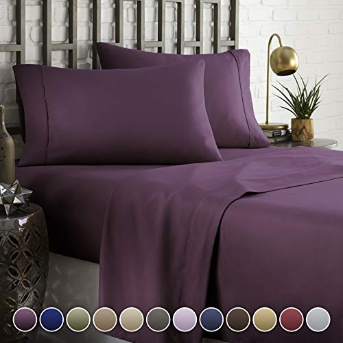 HC COLLECTION Hotel Luxury Comfort Bed Sheets Set, 1800 Series Bedding Set, Deep Pockets, Wrinkle & Fade Resistant, Hypoallergenic Sheet & Pillow Case Set(King, Eggplant) (Purple King Size Sheet Set)