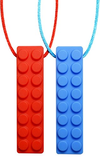 Chew Necklace (Block) by GNAWRISHING - 2-Pack (Red and Blue with Colored Cords) - Perfect for Autistic, ADHD, SPD, Oral Motor Children, Kids, Boys, and Girls (Tough, (Childrens Chew)