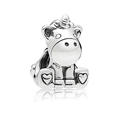 (Romántico Amor Bruno The Unicorn Horse Charms 925 Sterling Silver Bead fit Pandora Bracelets)