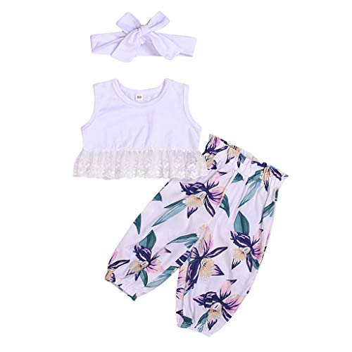 (CCSDR 3 PCS Newborn Infant Baby Girls Outfits Lace Hem Crop Top+Floral Print Pants +Hair Band White)