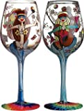 Bottom's Up 15-Ounce Hippie Chics Handpainted Wine Glass