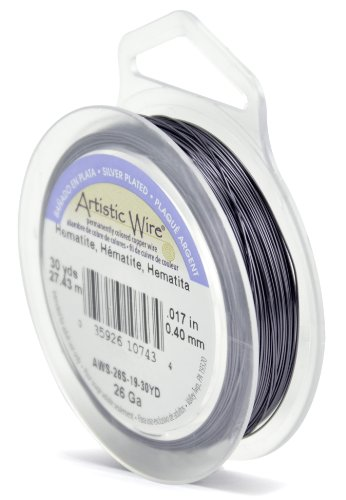 Beadalon 26 Gauge Silver Plated Artistic Wire, Hematite, 30-Yard