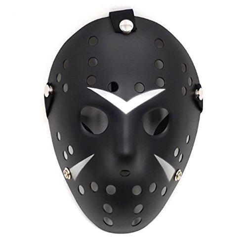 Black Hockey Mask (WELLIN Halloween Friday The 13th Horror Hockey Jason Cosplay Mask (Black))