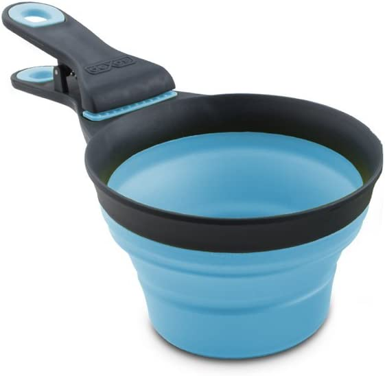 Dexas Popware for Pets Collapsible KlipScoop, 1 Cup Capacity, Gray/Blue