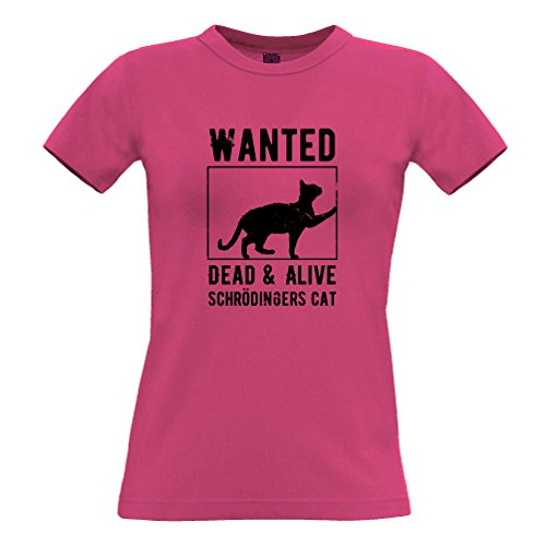 Wanted Dead e vivo Schròdinger Cat Poster Distressed T-Shirt Da Donna