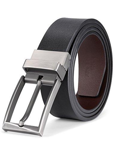 Men's 1 3/8'' Reversible Dress/Casual Leather Belts For Men (Waist 46''-48'', (Metallic Reversible Belt)