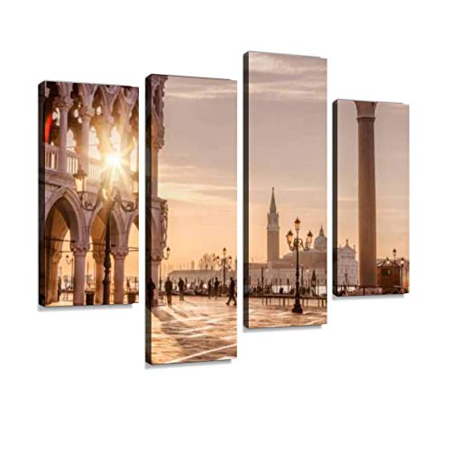 - St. Mark's Square, Venice, Italy Canvas Wall Art Hanging Paintings Modern Artwork Abstract Picture Prints Home Decoration Gift Unique Designed Framed 4 Panel