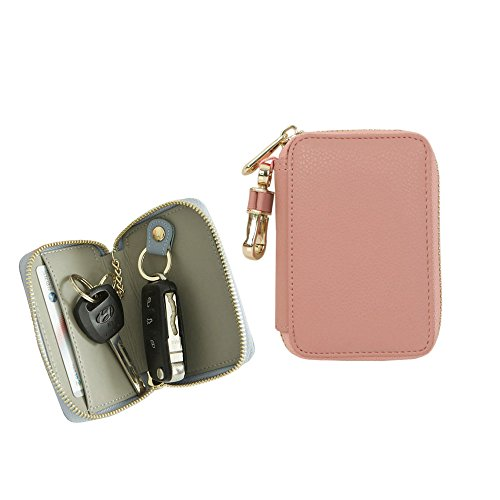 Genuine Leather Car Smart Key Holder Bag Keychain Wallet Case with Card Holder Indi Pink ()