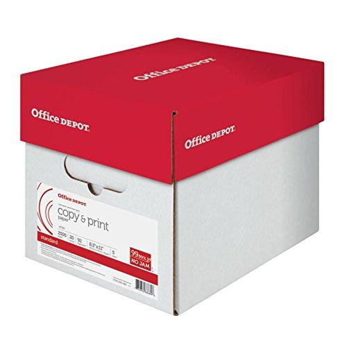 Office Depot Copy Print Paper, 8 1/2in. x 11in, 20 Lb, 500 Sheets Per Ream, Case Of 5 Reams, 851201CS