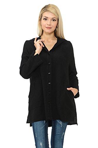 Focus Fashion Women's Cotton Waffle One Button Swing Jacket & Mini Waffle Hooded Button Women Jackets