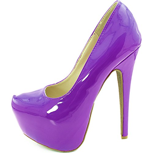 Womens Extreme High Fashion Pointed Toe Hidden Platform Sexy Stiletto High Heel Pump Shoes Purple Patent Leather TsKRDAr