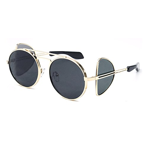 marco de haz clásico redondo doble de de Steampunk de sol Gafas Oro Gris metal marco no polarizadas xwCzR6