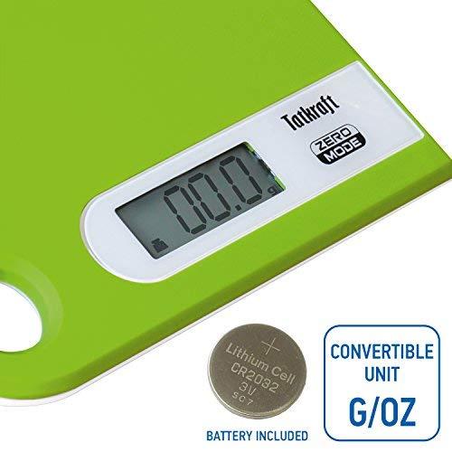 Tatkraft Green Báscula de Cocina para Alimentos Digital 5Kg Diseño Slim con Colgadero: Amazon.es: Hogar