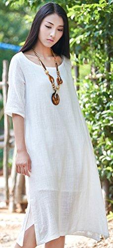 Linen Half Split Soojun A Cotton Summer Line Dresses Women's White Sleeve Fashion Laye qnPtwP4rS