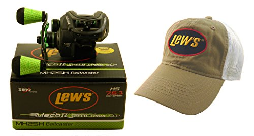 Bundle - Lew's Mach II MH2SH 7.5:1 Right Hand Baitcasting Reel with Hat