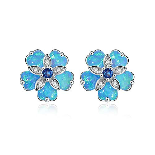 (CiNily Blue Flower Opal Earrings Stud, Blue Topaz Zircon Rhodium Plated Women Hypoallergenic Jewelry Gemstone Stud Earrings 15mm )