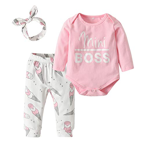 3Pcs Baby Girls Clothes Cute Letter Pink Romper Tops LCE Cream Print Pant and Headband Outfit Set