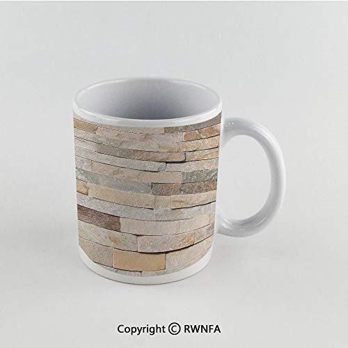 11oz Unique Present Mother Day Personalized Gifts Coffee Mug Tea Cup White Ivory,Urban Brick Wall Background Modern and Stylized Kitsch City Life Surface Print,Cream Beige Tan Funny Ceramic Coffee Te ()