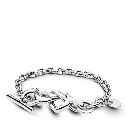 PANDORA Knotted Heart 925 Sterling Silver Bracelet, Size: 18cm, 7.1 inches - 598100-18