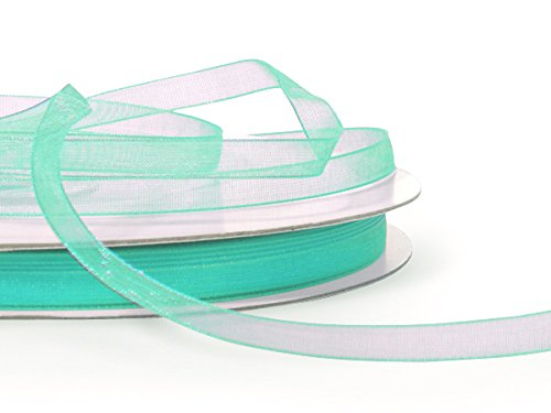 "Ben Collection 1/4"" X 50 Yard Plain Organza Ribbon Art & Sawing Craft Party Favor Gift Wrapping (Aqua)"
