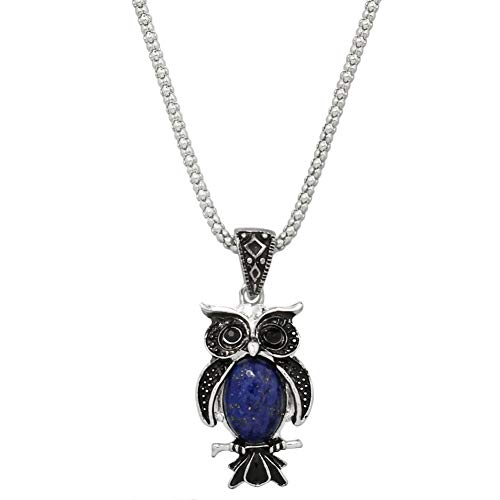 Lapis Lazuli Bird - Liavy's Owl Charm Pendant Fashionable Gemstone Necklace - 17