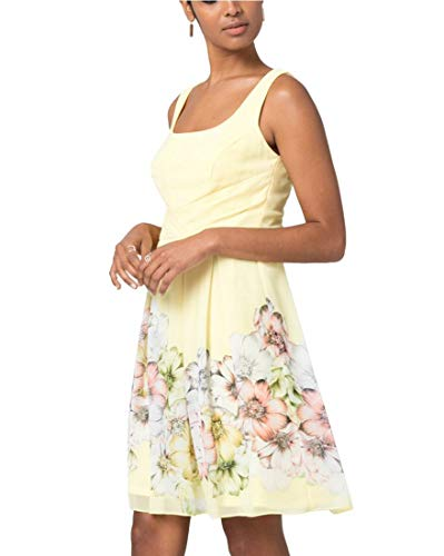 Floral Print Chiffon Fit & Flare Dress,M,Yellow/White ()