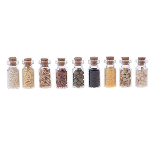 DYNWAVE 9 Pieces Dollhouse Glass Jars with Dried Foods, 1/12 Scale Miniature Bottles