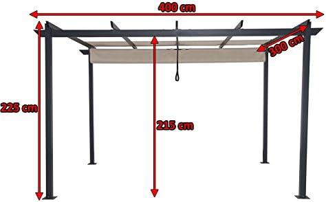 Leco Pergola 3 x 4 m, Aluminio con Revestimiento de Polvo ...
