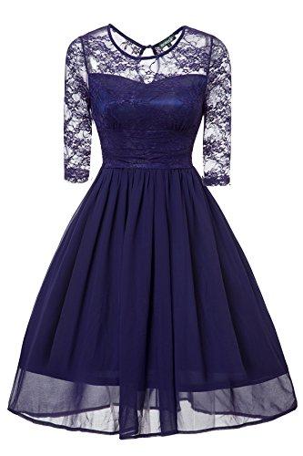 4fcdd6bee4df Gigileer Vintage Damen Swing Kleid Knielang 3 4 Ärmel Swing aus Spitze und  Chiffon Blau