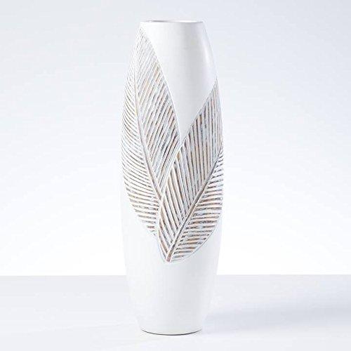 Folia Leaf Resin Imprint Bullet Vase Tall - White