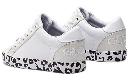 Para De Bianco Guess Blanco Cuero Zapatillas Mujer Stxg1qRw