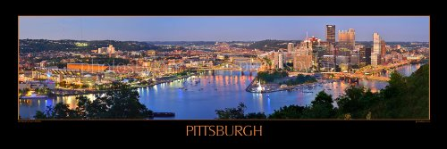 Pittsburgh Skyline PHOTO PRINT UNFRAMED DUSK Downtown City C