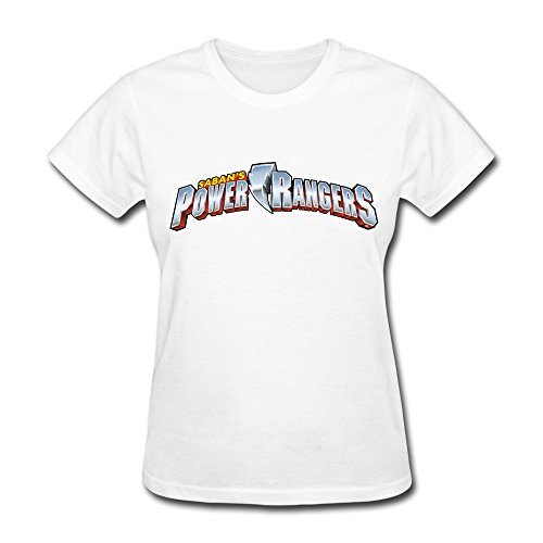 XiangXiangli Lady Sabans Power Rangers Logo 100% Cotton T-shirt S White