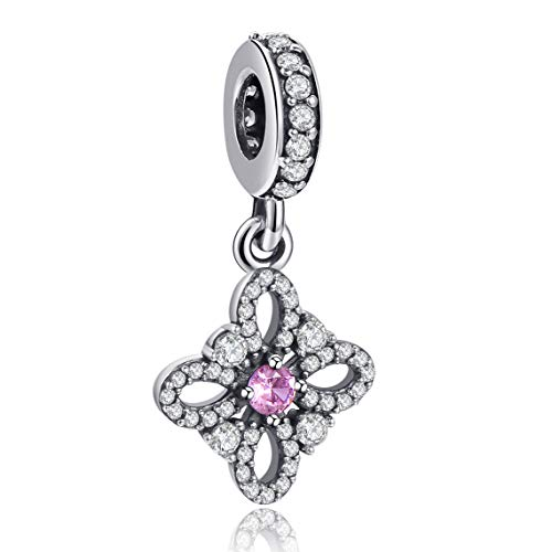 Angemiel 925 Sterling Silver Flower Dangle Charm for Snake Chain Bracelets Necklace, Lucky Charms Inlaid with 5A Cubic Zirconias
