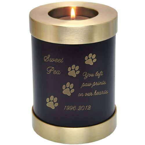 Custom Brass Personalized Engraved Pet Memorial Candle Holder Pet Urn, Espresso from Memorial Gallery