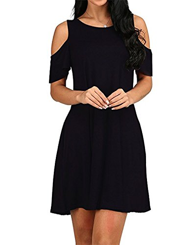 Summer Shoulder Sleeves Black Dress Women's Cold OUGES Ruffle wX8EqIg