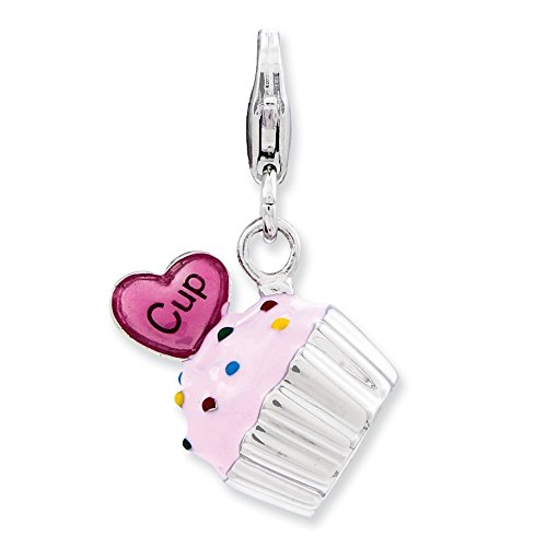 Sterling Silver Rhodium-plated Fancy Lobster Closure Enameled 3-d Cupcake and Heart With Lobster Clasp Charm